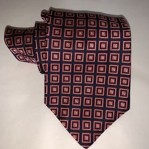 BROOKS BROTHERS MAKERS Navy/Pink Square Print Tie
